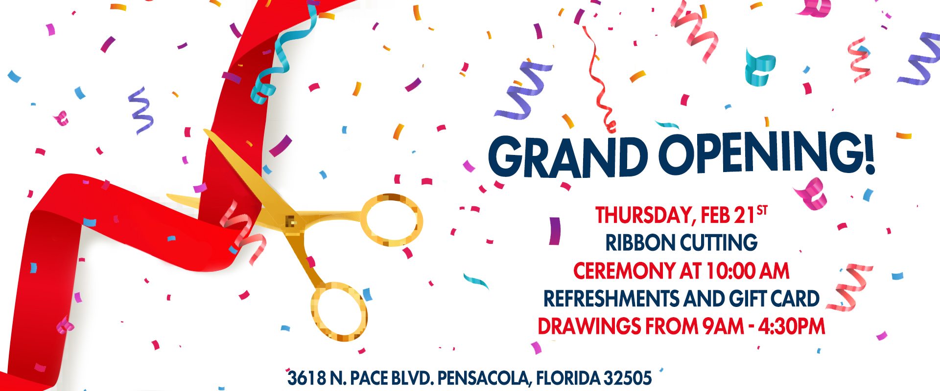 Join us for the Grand Opening of our New Pensacola Location. The Gulf Coast